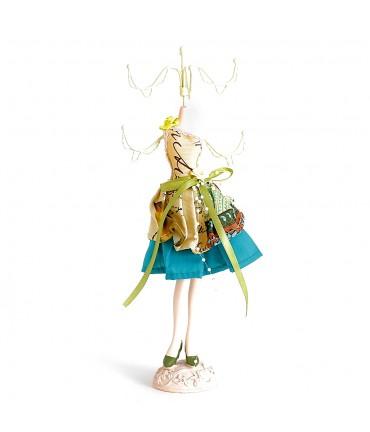 Porte bijoux mixte poupée robe bariolée