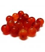 Perles rondes pierre gemme teinte cornaline