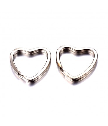 Anneaux porte clé coeur (5 pièces)