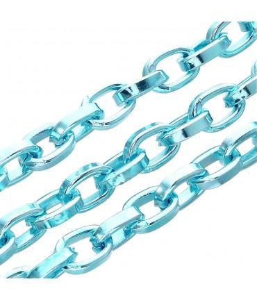 Chaine bijoux à mailles forçat 8 x 5,5 mm (1 mètre) - Bleu ciel