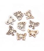 Breloque pendentif en bois papillons assortis (lot de 10)
