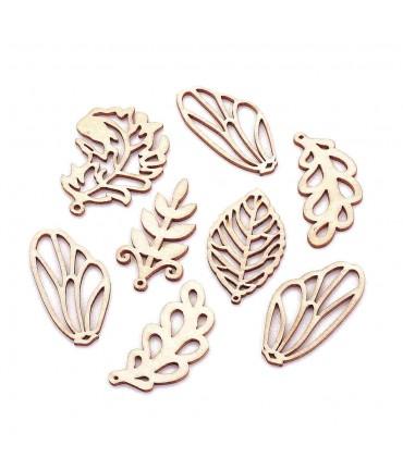 Breloque pendentif en bois feuilles assorties (lot de 5)