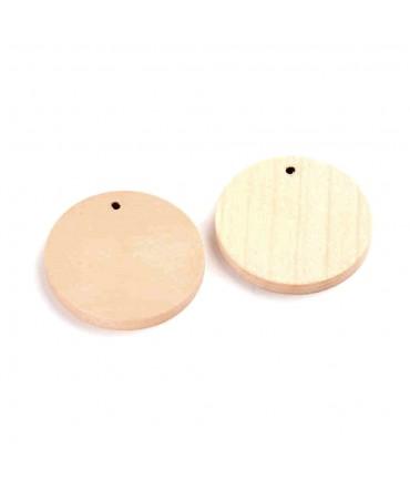 Breloque pendentif en bois rond plat (lot de 5)
