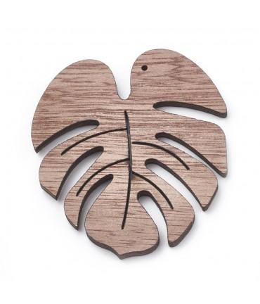 Breloque pendentif en bois feuilles monstera (lot de 2)