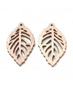 Breloque pendentif en bois feuilles 40 mm (lot de 5)