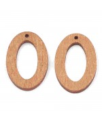 Breloque pendentif en bois ovale 30 mm (lot de 5)