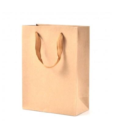 Sacs papier kraft poignée tissu 16X12 cm lot de 10