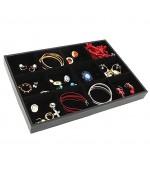 Plateau bijoux à 12 compartiments en velours - Noir