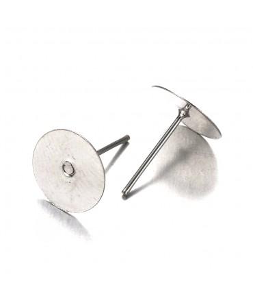 Clous d'oreilles support fimo cabochon 12 x 10 mm (10 pièces)