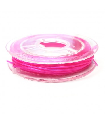 Fil nylon élastique 0,8 mm en bobine (10 mètres) - Fuchsia