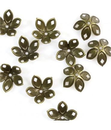 Calottes coupelles losanges pour perles (50 pièces) - Bronze