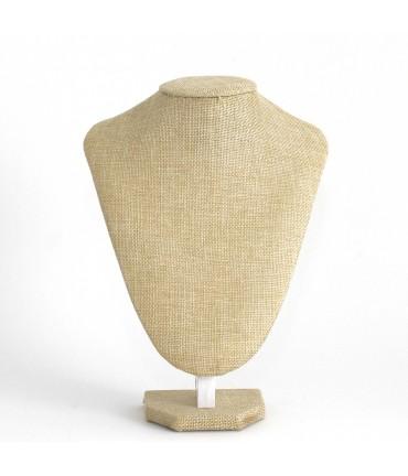 Buste porte collier toile de jute 26 cm