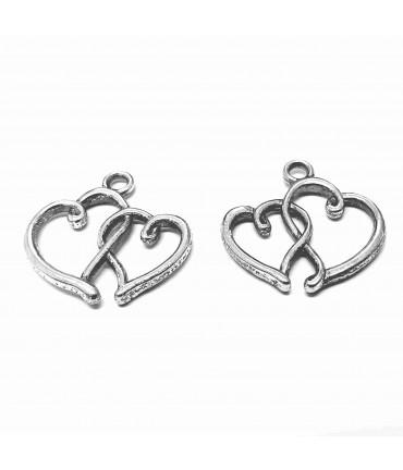 Breloque pendentif deux coeur style tibétain
