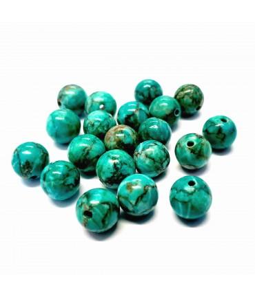 Perles rondes pierre gemme naturelle turquoise africaine