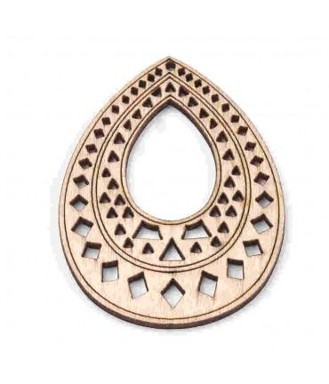 Breloque pendentif en bois larme 67.5 mm (lot de 2)