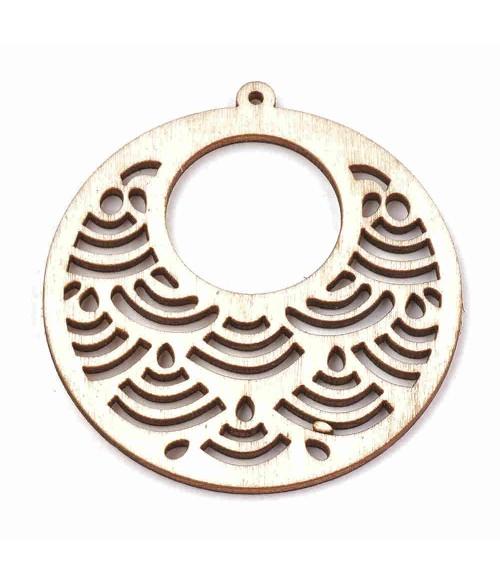 Breloque pendentif en bois rond 63.5 mm (lot de 2)
