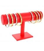Support bracelet montres jonc en simili cuir à 1 rang - Rouge