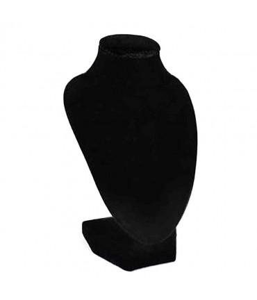 Buste porte collier en velours 15 cm - Noir