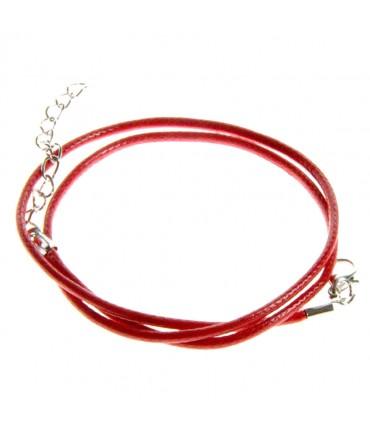 Colliers tour de cou 1,5 mm coton ciré fermoir mousqueton et chaînette (5 pièces) - Rouge
