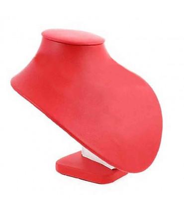 Buste porte collier en simili cuir 18 cm - Rouge