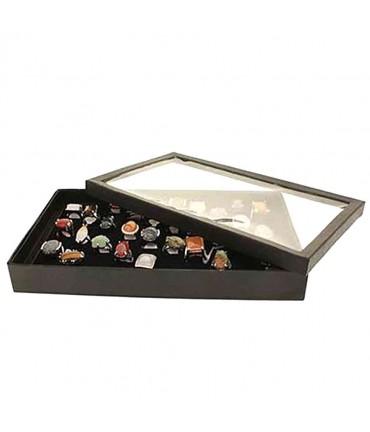 Boite à bague plateau carton avec couvercle (100 bagues) noir