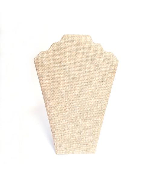 Buste presentoir colliers pliant en jute 22 cm