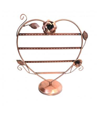 Porte boucle d'oreille coeur fleurs (35 paires)