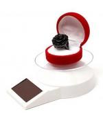 Présentoir bijoux tournant à énergie solaire pour vitrine - Blanc
