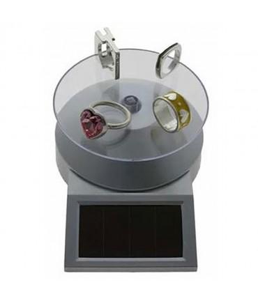Présentoir bijoux tournant à énergie solaire pour vitrine - Gris