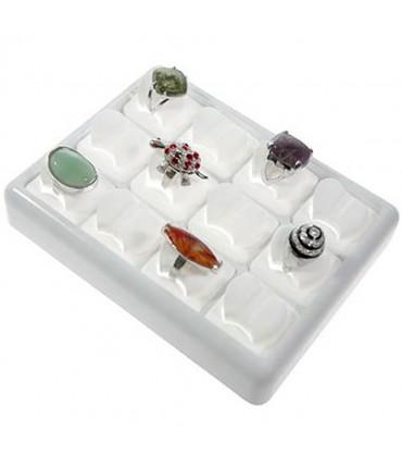 Plateau presentoir bague Ice Cube (12 bagues) - Blanc