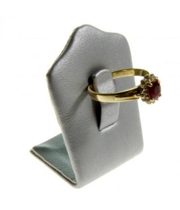Mini porte bague Trèfle en simili cuir (1 bague) - Argenté
