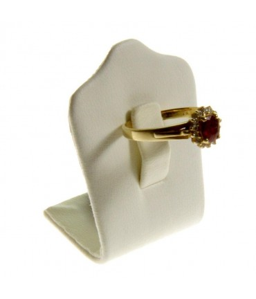 Mini porte bague Trèfle en simili cuir (1 bague) - Beige