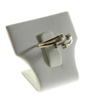 Mini porte bague évasé en simili cuir (1 bague) - Argenté