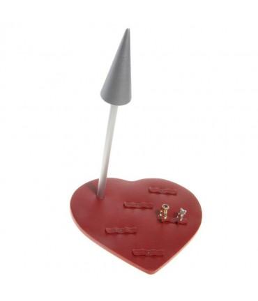 Mini présentoir Cupidon pour 5 paires alliances (10 bagues) - Rouge