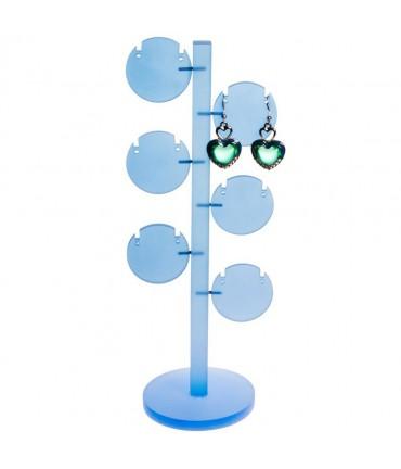 Presentoir arbre à boucle d'oreille Ronds (6 paires) - Bleu